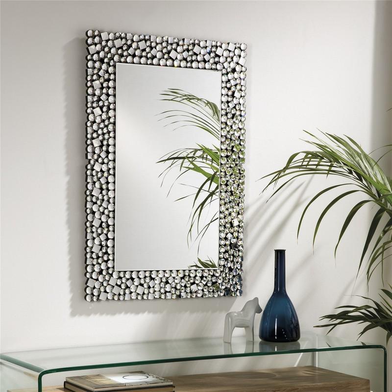 Specchio Da Parete Rettangolare Cornice Per Specchietti In Mosaico 90 X 60 X 1 9 Cm Qechic