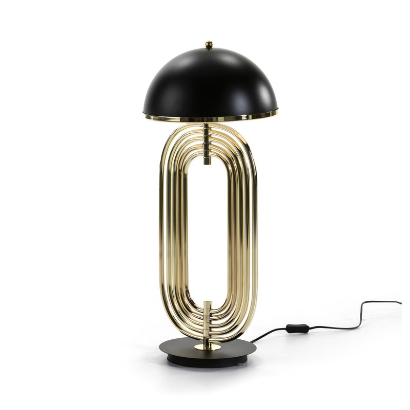 Lampada Da Tavolo In Acciaio Nero E Oro 28x67 Qechic