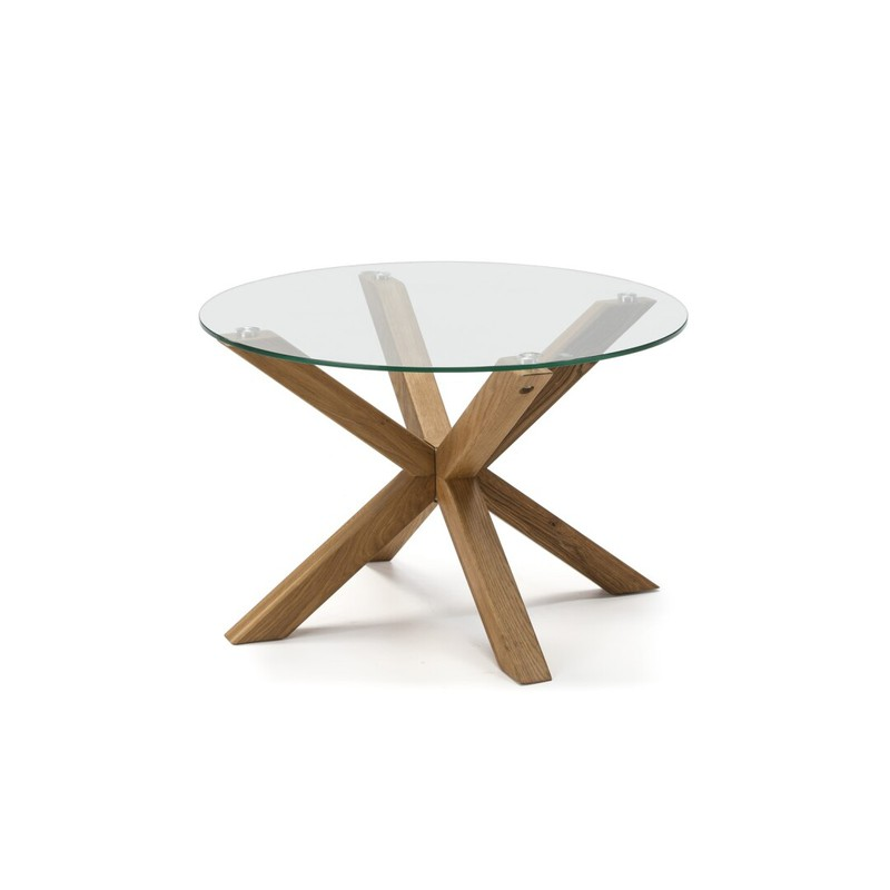 Tavolino Rotondo In Vetro Gambe In Legno 70 X 70 X 45 Cm Qechic