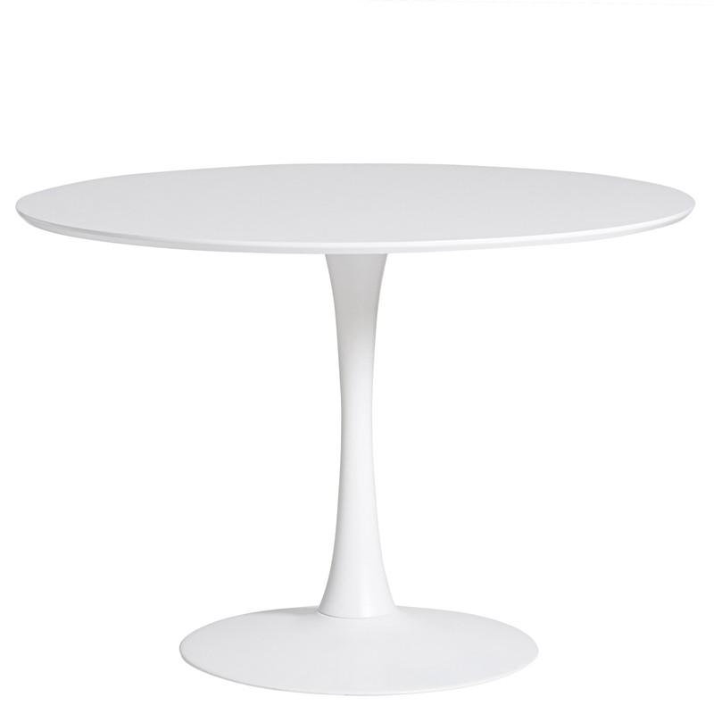 Tavolo Da Pranzo Rotondo Bianco In Legno E Gamba In Metallo 110 X 110 X 75 Cm Qechic