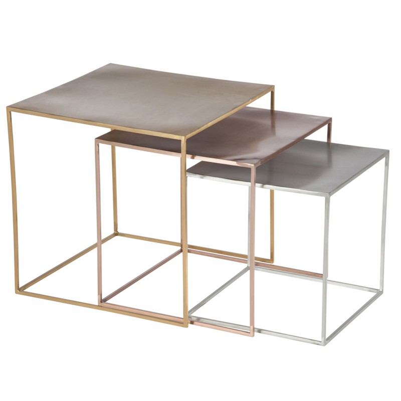 Set Of 3 Metal Side Tables In Silver Copper And Gold 45x45x45 Cm