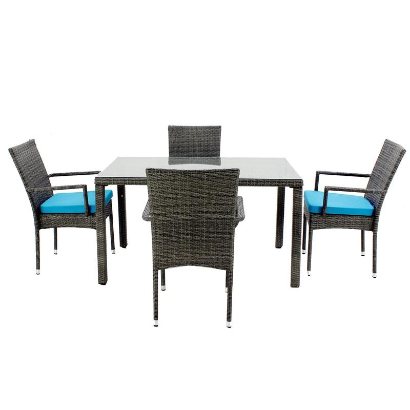 Set de mesa de comedor con 4 sillones y 4 cojines Mali-130/4+4c